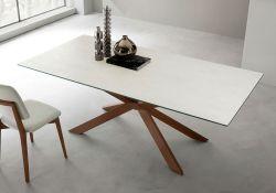 Tavolo Mikado 180x100 cm con gambe corten e piano bianco