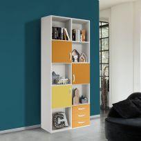 Libreria VOLO linea fly bianco frassino giallo e arancione