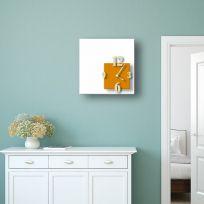 Orologio da parete CUBIK, bianco e arancione