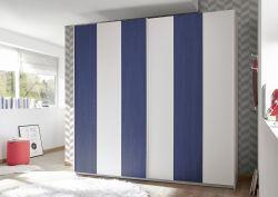 Armadio linea Color Line con 2 ante scorrevoli bianco opaco e blu