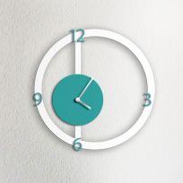 Orologio da parete HALO, bianco e acquamarina