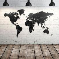 Planisfero da parete 1,5 metri nero con confini bianchi