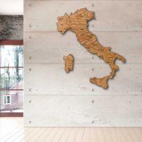 Quadro mappa Italia in legno finitura legno scuro