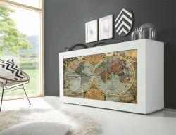 Madia Vintage Map Linea Fancy finitura Bianco lucido con Serigrafia