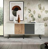 Madia Amber linea Alba in finitura Rovere Nordico ,Bianco Calce, Vetro Antracite e Marmo