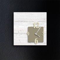 Orologio da parete CUBIK, legno sbiancato e tortora