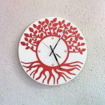 Orologio da parete albero della vita - Bianco / rosso