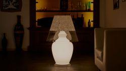 Lampada da Terra Angipù in Texture Folk Bianco