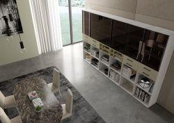 Libreria Elvin linea Contact in Bianco  opaco e  Oro antico