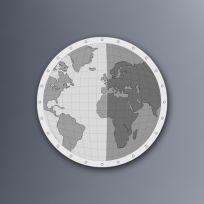 Planisfero diamentro 60 cm finitura bianco e nero