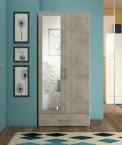 Armadio Simbi linea Concrete Bianco Frassino e Cemento