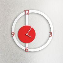 Orologio da parete HALO, bianco e rosso