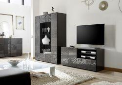 Porta Tv India a 1 anta e 1 cassetto in grigio serigrafato