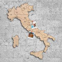 Quadro mappa Italia in legno colore legno chiaro