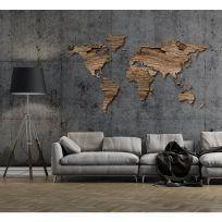 Planisfero da parete 2 metri - legno  rustico