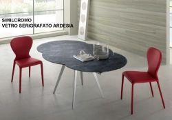 Tavolo Argo Eurosedia struttura cromo con vetro cemento