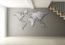 Planisfero da parete colore legno sbiancato 2m