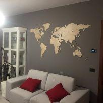 Planisfero da parete colore legno chiaro 1,5 metri