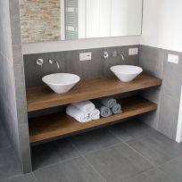 2 Mensole bagno in legno massello  140 x 45 cm