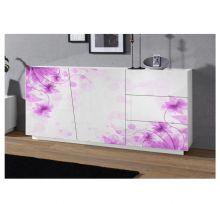 Madia 2 ante e 3 cassetti linea Virgola finitura Bianco Lucido con fiore viola