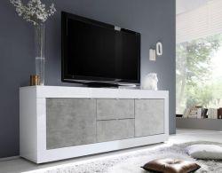 Porta TV 2 ante e 2 cassetti linea Basic colore Bianco laccato lucido e Beton