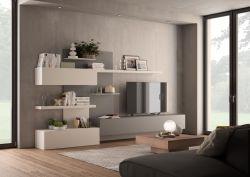 Parete attrezzata Intense linea Contact in Bianco e Alluminio opaco
