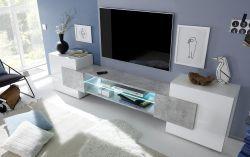 Porta TV Bianco lucido e beton Linea Goar