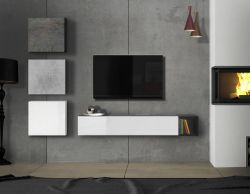 Parete attrezzata moderna di design, bianco lucido,cemento e ossido