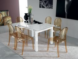 Tavolo Aliante Eurosedia bianco con vetro bianco